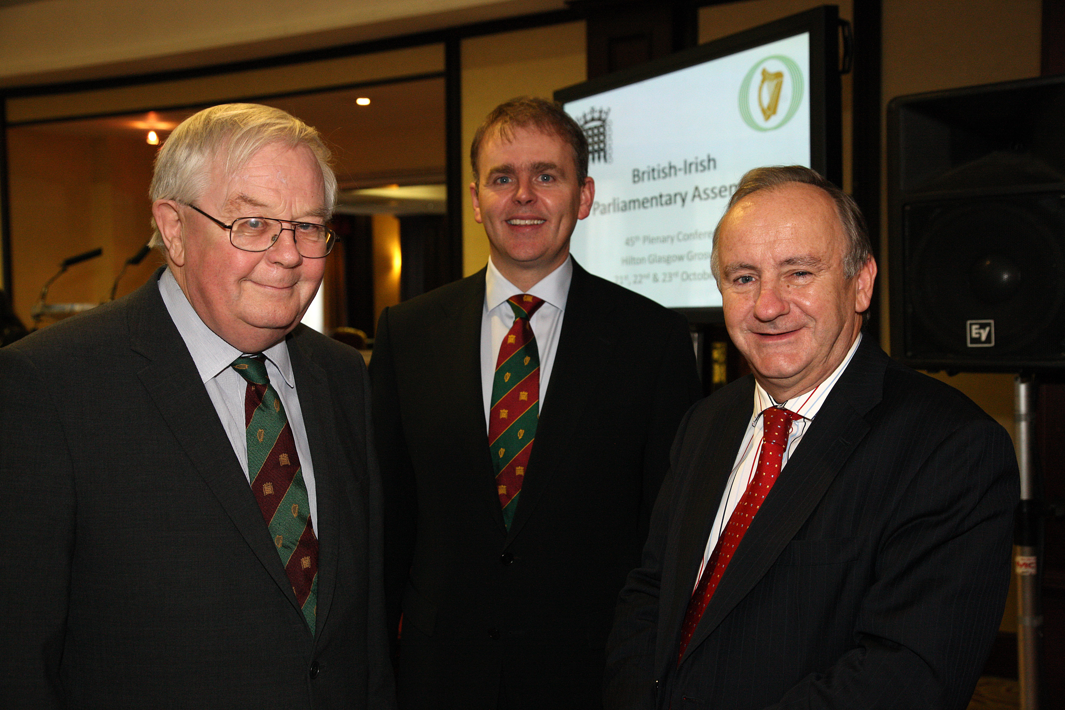 Professor Sir William McKay, Chair of the Commission on the Consequences of Devolution for the House of Commons, with the Co-Chairmen at the 45th plenary in Glasgow