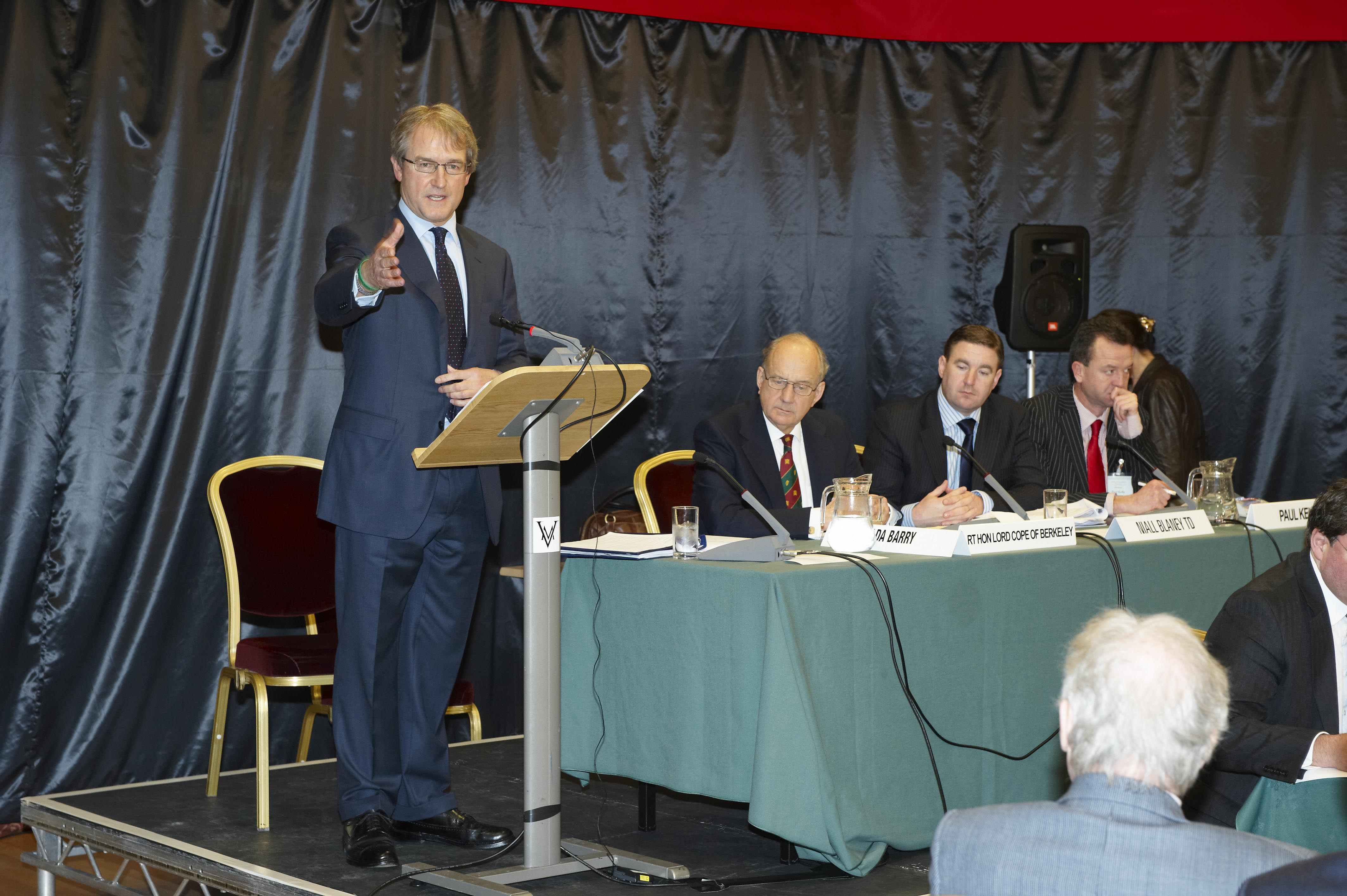 Secretary of State for Northern Ireland, Owen Paterson MP, addresses the BIPA plenary in the Isle of Man