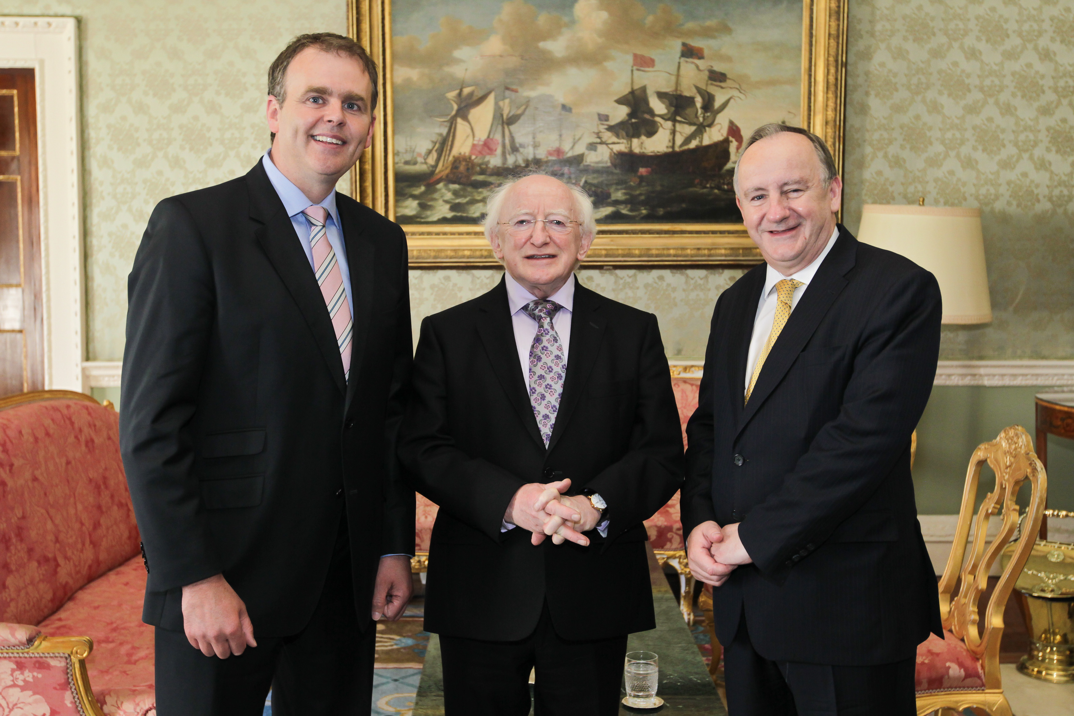 President of Ireland, Michael D Higgins, with BIPA Co-Chairs, Joe McHugh TD and Laurence Robertson MP, at a reception in Aras an Uchtarain to mark the 44th plenary