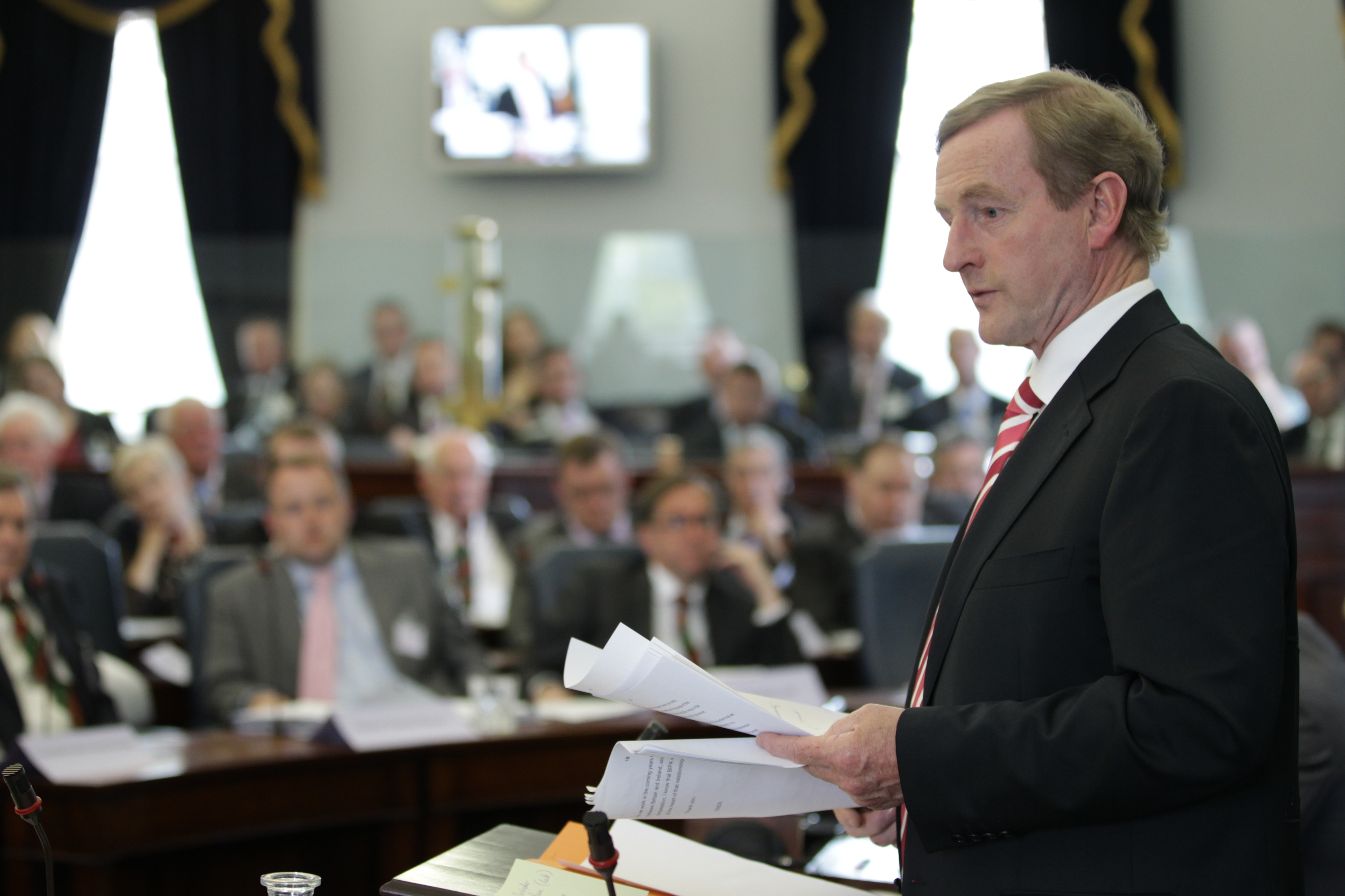 An Taoiseach, Enda Kenny TD, addresses the 44th plenary in the Seanad Chamber, Leinster House